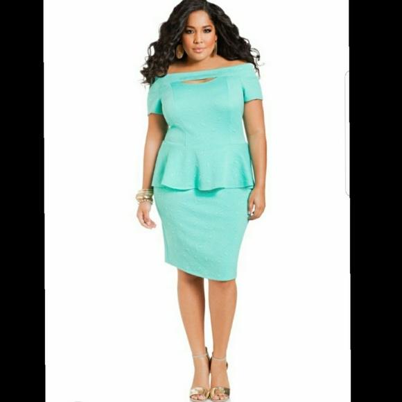26a4c86b929 Ashley Stewart Dresses   Skirts - ASHLEY STEWART PEPLUM TEXTURED BLUE PARTY  DRESS